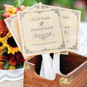 Personalized Wood Vintage Wedding Favor Fans (Set of 24) image