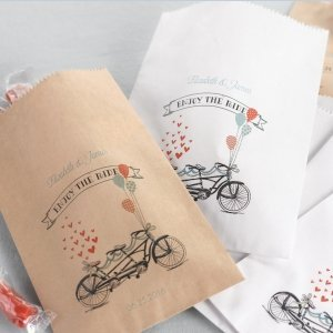 Personalized Bike Wedding Candy Buffet Bags (Set of 50) image