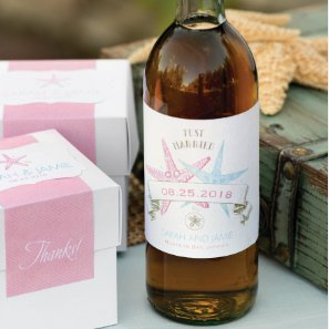 Personalized Wedding Wine Labels - Starfish (Set of 50) image