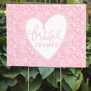 Pink Floral Bridal Shower Yard Sign image