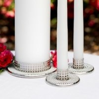 Vintage Pearl Wedding Unity Candle Stands