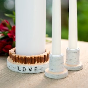 Rustic Love Candle Holder Set image