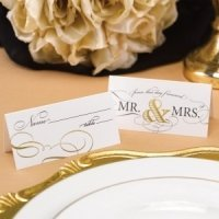 Golden Elegance Mr. & Mrs. Place Cards (Set of 25)