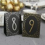 Polka Dot Table Number Tents - Silver or Gold Foil
