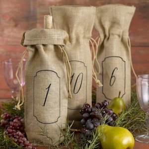 Burlap Wine Table Number Bags (Set of 10) image