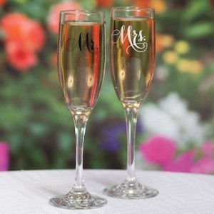 Elegant Mr. and Mrs. Toasting Flutes Set image