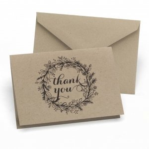 Rustic Kraft Thank You Note Cards (Set of 50) image