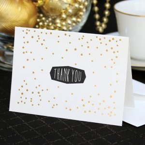 Gold Polka Dot Thank You Note Cards (Set of 50) image