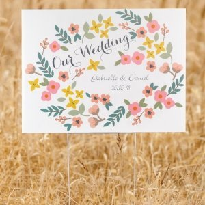 Personalized Retro Floral Wedding Yard Sign image