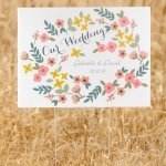 Personalized Retro Floral Wedding Yard Sign