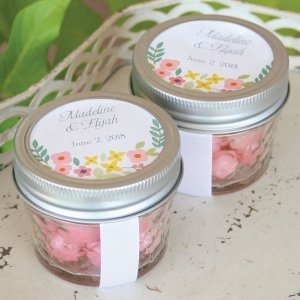 Personalized Retro Floral Medium Circle Seal (Set of 50) image