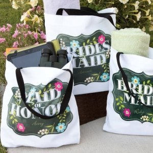 Chalkboard Floral Tote Bag - Bride - Design Only image