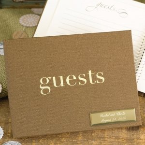 Golden Linen Guest Book image