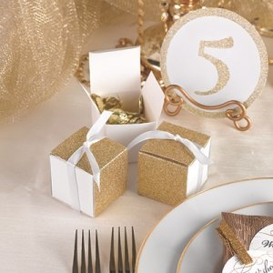 Gold Gliter Wrap Favor Box (Set of 25) image