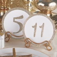 Glitter Table Number Cards - Gold or Silver