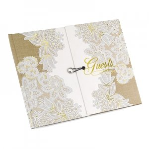 Rustic Lace Gatefold Guest Book image