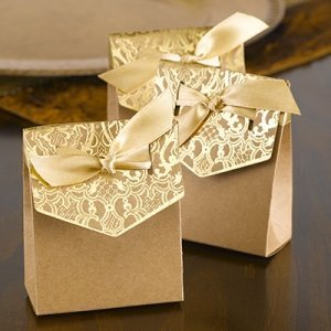 Naturally Vintage Gold Tent Favor Boxes (Set of 25) image