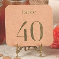 Kraft Table Number Cards in Gold or Silver