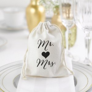 Mr and Mrs Cotton Favor Bags image