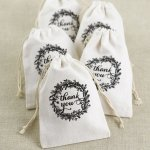 Rustic Wreath Cotton Favor Bags