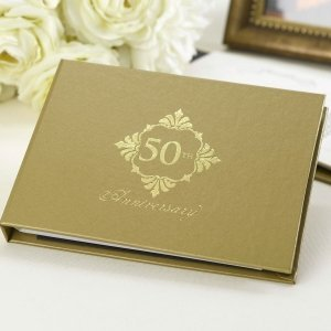 Golden 50th Anniversary Guest Book image