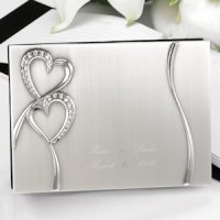 Sparkling Hearts Wedding Guest Book (Personalized Option)