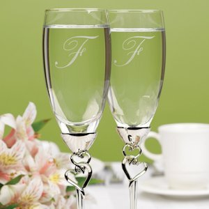 Toasting Flutes with Silver Entwined Heart Stem image
