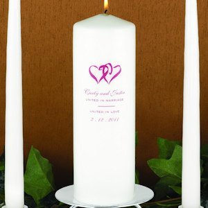 Personalized Double Hearts Unity Candle image