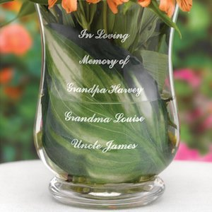 In Loving Memory Engraved Memorial Vase for Weddings image