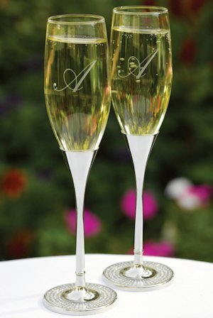 Diamond Dust Wedding Champagne Glasses image