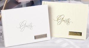 Foil Guest Book (White or Ivory) image