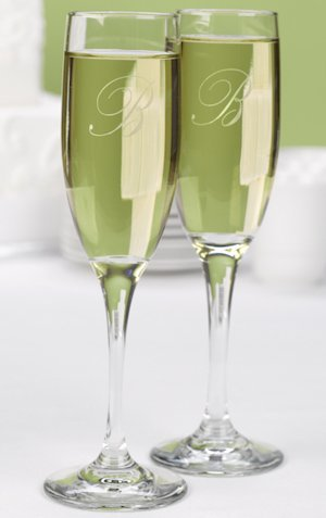 Etched Champagne Glasses with Two Sided Monogram image
