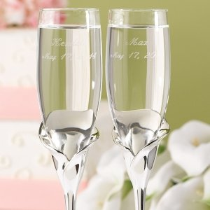 Toasting Flutes with Calla Lily Base image