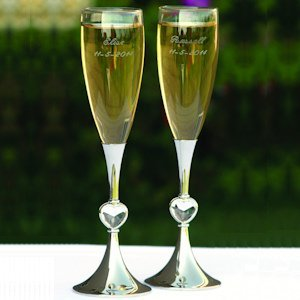 Clearly Enamored Toasting Flutes for Weddings image