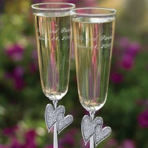 Diamond Dust Heart Wedding Flute Set image