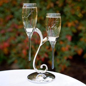 Raindrop Toasting Flutes with Swirl Stand image