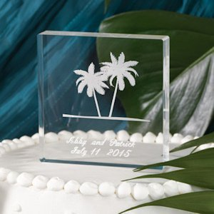 Etched Palm Trees Personalized Cake Top image