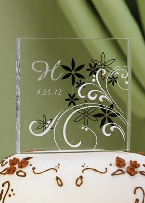 Personalized Floral Acrylic Cake Top image