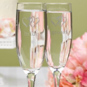 Linked Hearts Bride & Groom Toasting Flutes image