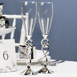 Love Knot Wedding Champagne Flutes image