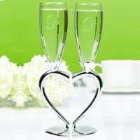 Interlocking Heart-Stemmed Wedding Toasting Flutes