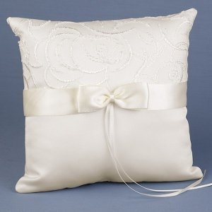 Satin & Swirls Wedding Ring Pillow (White or Ivory) image