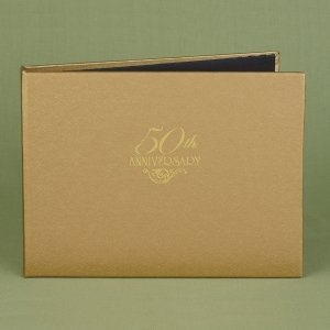 Golden 50th Wedding Anniversary Guest Book image