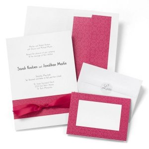 White Wedding Invitation Kit With Fuchsia Scroll Design 50