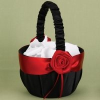 Midnight Rose Red and Black Flower Girl Basket