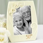 50th Porcelain Frame with Roses