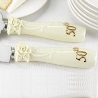50th Anniversary Pearl Rose Cake Serving Set