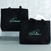 Black and Aqua Bridal Party Tote Bags
