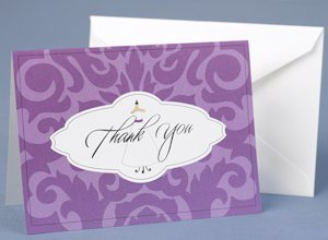 Wedding Gown Purple Damask Thank You Cards image