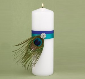 Peacock Plume Unity Candle image